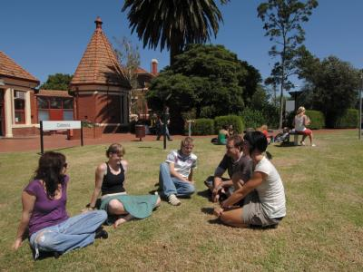 Students relax at the Fairfield Campus. Photo credit: Melbourne Polytechnic