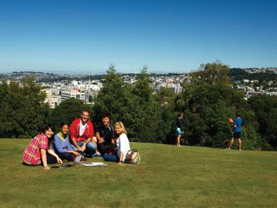 Students overlooking Dunedin. Photo credit: Otago Polytechnic