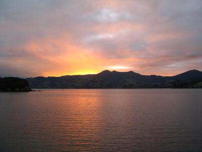 Sunset over the Otago peninsula.  Photo credit: Rhiannon Davies