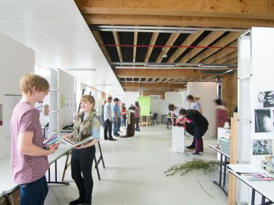 Art & design students put together their exhibition. Photo credit: NMIT