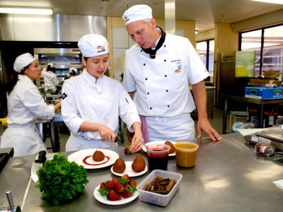 Patisserie student and teacher. Photo credit: William Angliss Institute