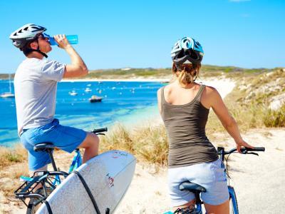 Cycling on Rottnest Island. Photo credit: Tourism Western Australia