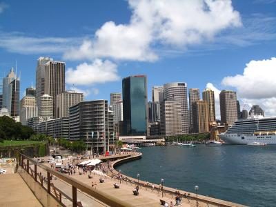 Sydney centre viewed from the Opera House.  Copyright Rhiannon Davies.