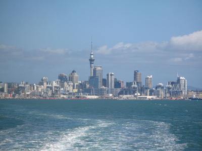 Auckland city as seen from the water.  Photo credit: Rhiannon Davies