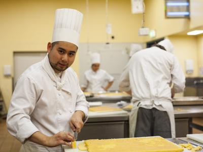 Working in the kitchens at TAFE SA. Photo credit: TAFE SA