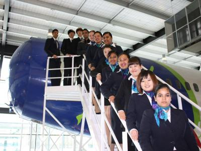Students on the training plane at the New Zealand School of Tourism. Photo credit: NZST
